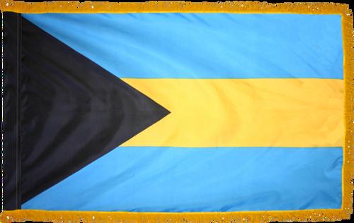 BahamasFlag with Pole Hem and Gold Fringe