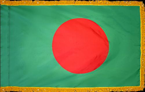 BangladeshFlag with Pole Hem and Gold Fringe