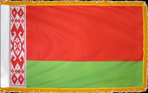 BelarusFlag with Pole Hem and Gold Fringe