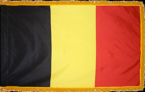 Belgium Flag with Pole Hem and Gold Fringe