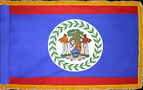 BelizeFlag with Pole Hem and Gold Fringe