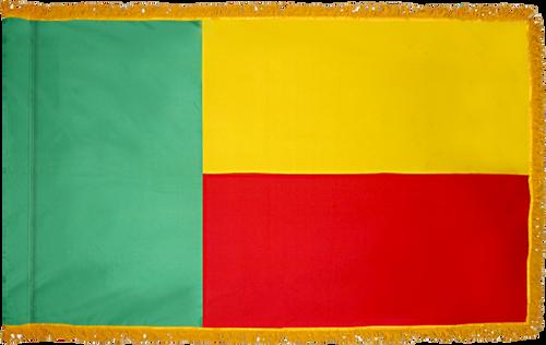 Benin Flag with Pole Hem and Gold Fringe