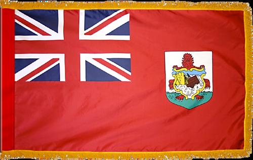 Bermuda Flag with Pole Hem and Gold Fringe
