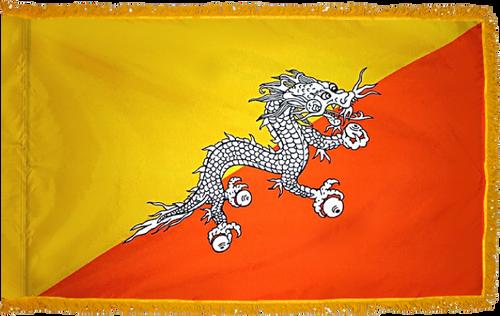 Bhutan Flag with Pole Hem and Gold Fringe