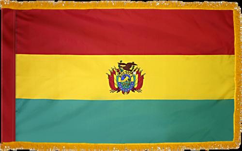 BoliviaFlag with Pole Hem and Gold Fringe