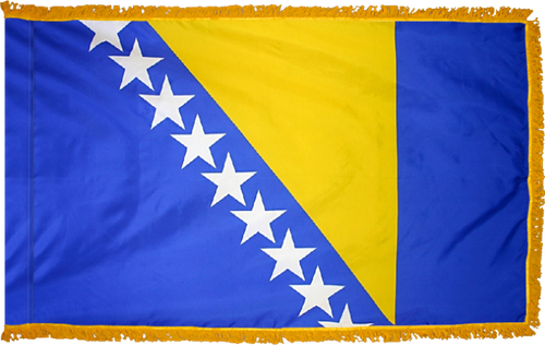 Bosnia and HerzegovinaFlag with Pole Hem and Gold Fringe
