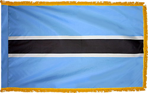 BotswanaFlag with Pole Hem and Gold Fringe