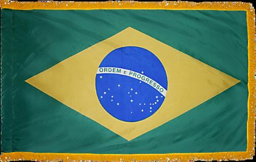 BrazilFlag with Pole Hem and Gold Fringe