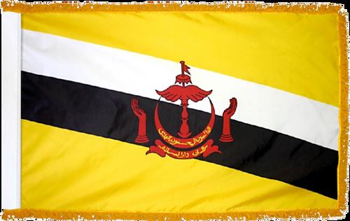 BruneiFlag with Pole Hem and Gold Fringe
