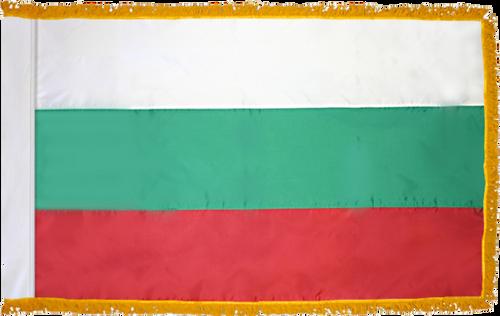 BulgariaFlag with Pole Hem and Gold Fringe