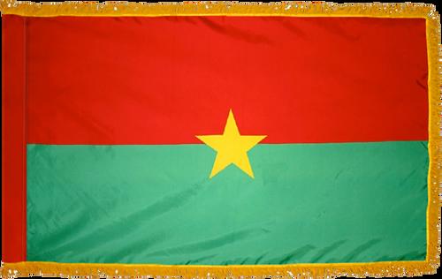 Burkina FasoFlag with Pole Hem and Gold Fringe