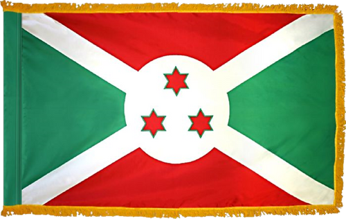 BurundiFlag with Pole Hem and Gold Fringe
