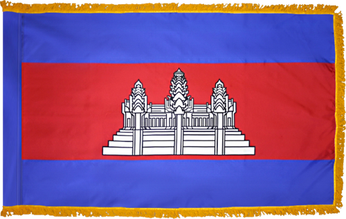 CambodiaFlag with Pole Hem and Gold Fringe