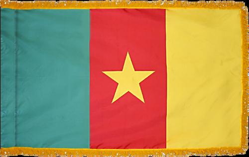 CameroonFlag with Pole Hem and Gold Fringe