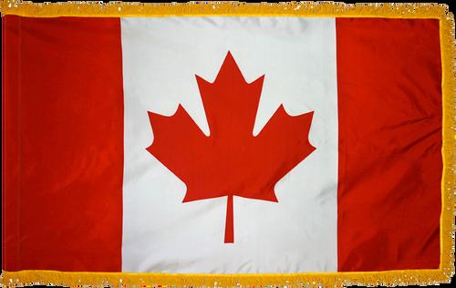 CanadaFlag with Pole Hem and Gold Fringe