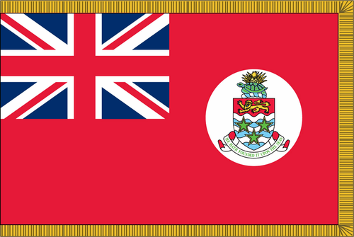 Cayman Islands CivilFlag with Pole Hem and Gold Fringe