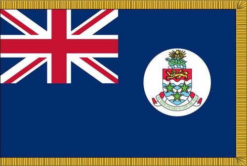 Cayman Islands NationalFlag with Pole Hem and Gold Fringe