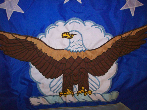 AIR FORCE APPLIQUE INDOOR FLAG. US Air Force 3' x 4' Nylon Applique with Polehem and Gold Fringe, M025130