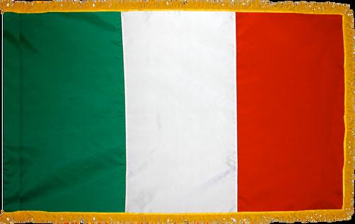 ItalyFlag with Pole Hem and Gold Fringe