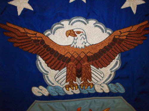 Air Force Rayon Embroidered Flag, 3' x 4' with Pole Hem and Fringe. This flag is fully embroidered and sewn to government spec. For indoor use only, FM14260