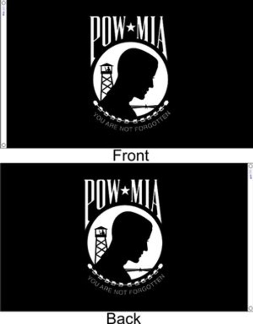 POW-MIA Flag, Double Seal, 10' x 15'  Extra-Tough with Headers & Grommets