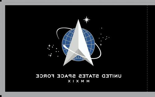 """US Space Force Flag, size 4'4"""" x 5'6"""", Nylon with Pole Hem and Platinum Fringe"""