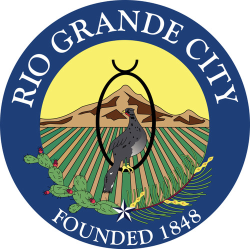 "Custom Applique Single Reverse 12' x 18' Poly Flag w/Roped header and Thimbles ""City of Rio Grande"" Logo Flag, Printed Seal Sewn Onto a Poly Flag with Reinforced Corners"