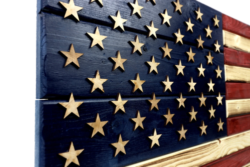 Brave American Wooden American Flag - Various Sizes, No Outdoor Coating, No Frame