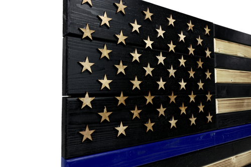Brave American Thin Blue Line Wooden Flag - Medium 32 Inches x 16 Inches, No Outdoor Coating, No Frame