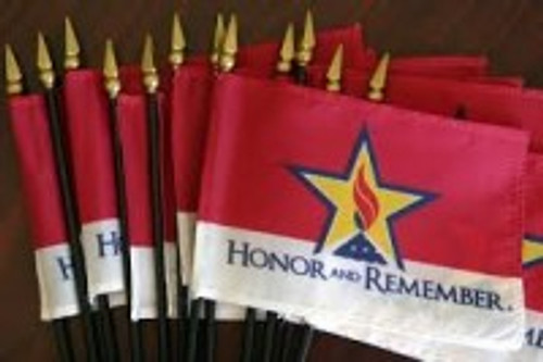 """Honor and Remember 4"""" X 6"""" Handheld Flag Set (12)"""