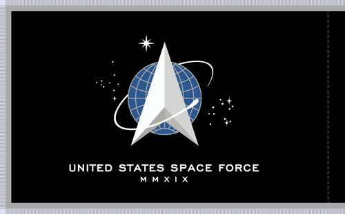 "US Space Force Flag, size 4'4"" x 5'6"", Nylon Applique, Double Sided with Pole Hem and Platinum Fringe Back"