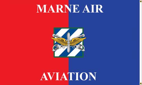 "Custom Digital Double Sided 3' x 5' Nylon w/Header and Grommets ""Marne Air Aviation"" Back"