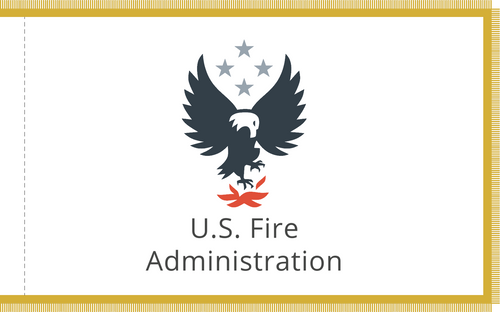 """Custom U.S. Fire Administration """"Hot Foot"""" flag, SIze 4' X 6' with pole hem and gold fringe"""