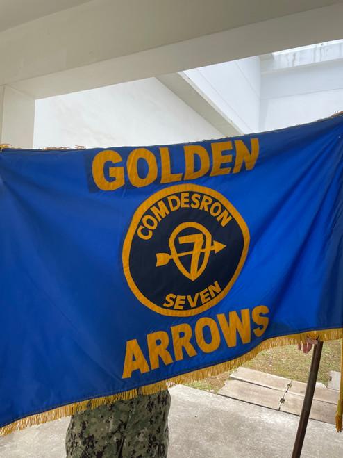 Custom COMDESRON 7 Flag, Size 3' X 5' Nylon Applique with Pole Hem and Gold Fringe (Open Market)