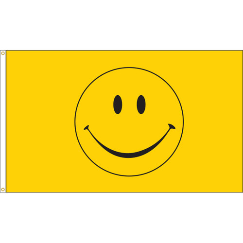 Smiley Face Flag, 3' x 5', Nylon with Header & Grommets