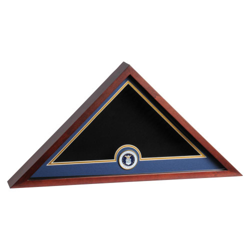 Mahogany Flag Display Case with Air Force Service Medallion for 5ft x 9.5ft Internment Flag, DisplayCaseMahoganyUSAF