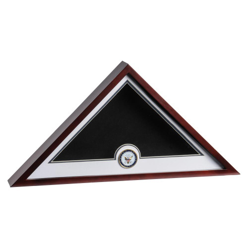 Mahogany Flag Display Case with Navy Service Medallion for 5' x 9.5' Internment Flag