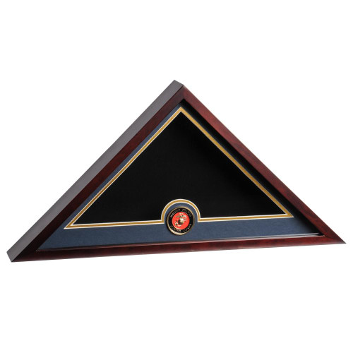 Mahogany Flag Display Case with Marine Corps Service Medallion for 5ft x 9.5ft Internment Flag, DisplayCaseMahoganyUSMC, AF28400
