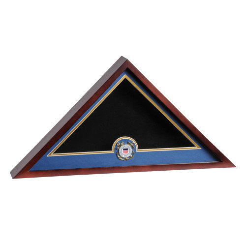 Mahogany Flag Display Case with Coast Guard Service Medallion for 5ft x 9.5ft Internment Flag, DisplayCaseMahoganyUSCG