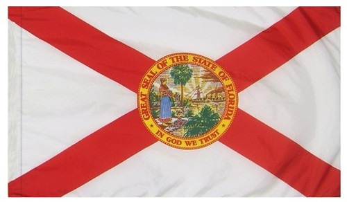 Florida State Flag, 4ft x 6ft Nylon with Pole Hem, FL4X6PH