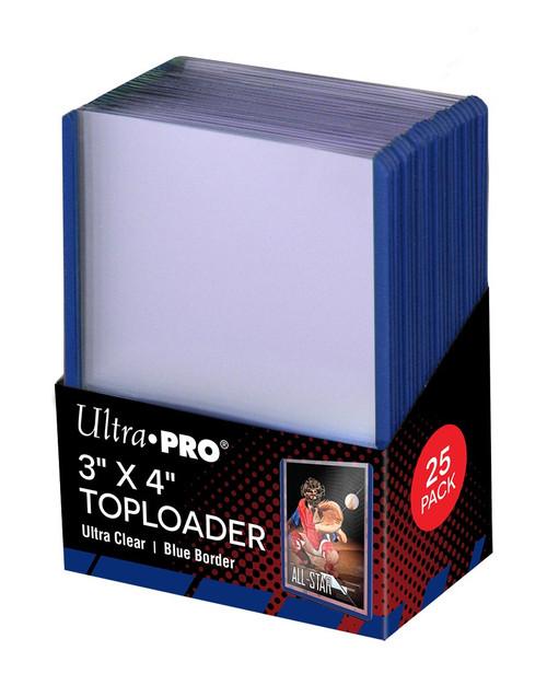 """3"""" X 4"""" Blue Border Toploader (25)"""