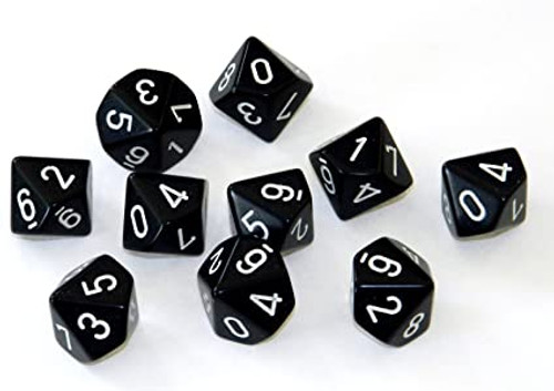Dice and Gaming Accessories D10 Sets: Black and Grey - Opaque Black  w/ White D10 (10)