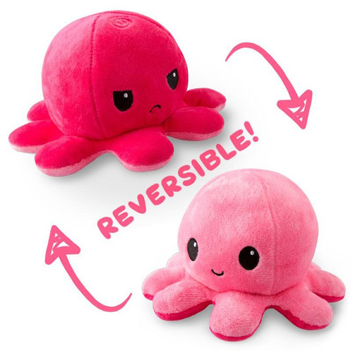 Stuffed Toys: Reversible Octopus Mini Plush: Double Pink