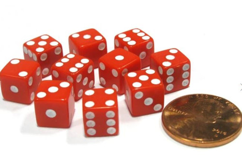 Dice and Gaming Accessories D6 Sets: Red and Orange - Opaque Red w/ White D6 (12)