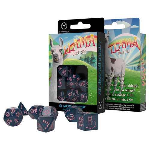 Dice and Gaming Accessories Polyhedral RPG Sets: Blue and Turquoise - Llama Dice Set: Sparkling - Glittering Dark Blue & Pink (7)