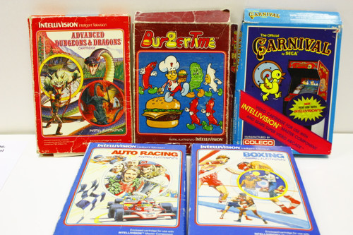 Used Intellivision Lot - AD&D, Boxing, Auto Racing, Burgertime, The Carnival [U-B4S5 274149]