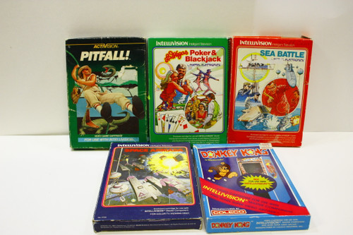Used Intellivision Lot - Donkey Kong, Pitfall, Space Armada, Sea Battle, Poker [U-B4S5 274151]