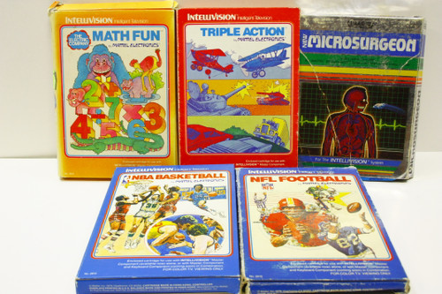 Used Intellivision Lot - Microsurgeon, Mathfun, Triple Action, NFL Football [U-B8S1 274152]