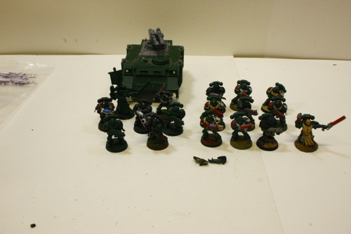 (Secondhand) Warhammer 40K: Dark Angels - Warhammer 40k Dark Angel Lot - Razorback, Tactical Squad