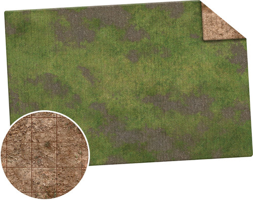 Monster Game Mat: 6x4 - Broken Grassland / Desert Scrubland Adventure Grid